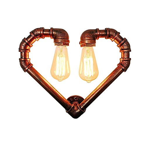 LBMTFFFFFF Soporte para Lámpara de Pared Luz Minimalista Estilo Industrial Aplique Lámpara de Pared E27 Base Bronceado Tipo Corazón Soporte de Tubería de Agua Luces de Pared con Interruptor de Cuerda