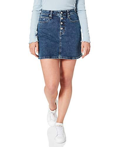 Calvin Klein Jeans Damen HIGH Rise Mini Skirt Rock, Denim Dark, 26W Short