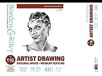 Borden & Riley #116 アーティストの描画/スケッチ ベラムパッド 18インチ x 24インチ 90ポンド ホワイトシート 40枚 各1パッド (116P182440)