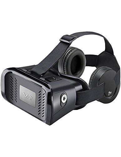 GOJI Universal VR 3D Virtual Reality Headset with Detachable Headphones for Movies and Games - Apple iPhone and Android Devices Samsung, HTC, Motorola, Sony
