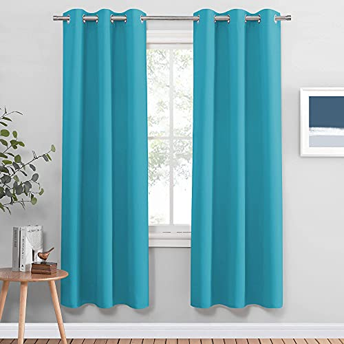 PONY DANCE Window Curtain Panels - Room Darkening Solid Grommet Top Thermal Insulated Blackout Curtains Window Treatments Light Block Drapes for Living Room, 42 by 72 inches, Blue Mist,2 PCs
