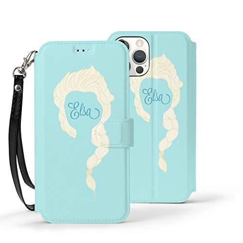 Nueey Fro-Zen A-P-L-E - Funda para iPhone 12 con ranura para tarjeta de piel para niña joven, color azul