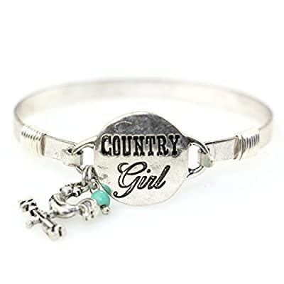Country Girl Handmade Beautiful Bangle Bracelet with Wire Design and Cute Rooster on Weather Vane Charm and Bead (Silver Burnish)