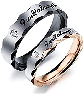 "Znworld Mens Womens 5mm 3.5mm""I Will Always Be With You"" Wedding Engagement Promise Couple Ring"