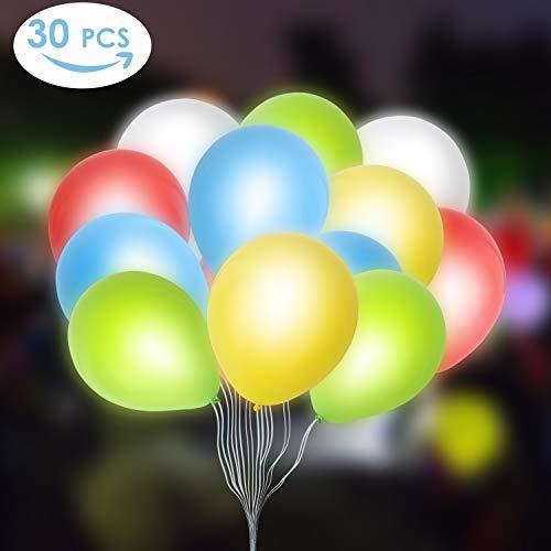 MVPower 30pcs Leuchtende Luftballons 5 Farben LED Luftballons 30 cm Ballons Bunte Luftballons für Weihnachten, Geburtstag, Hochzeit und Party und Festival, Leuchtet bis 24 Stdn