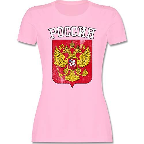 Fußball-Europameisterschaft 2020 - Russland Wappen WM - S - Rosa - fußball wm 2018 Russland - L191 - Tailliertes Tshirt für Damen und Frauen T-Shirt