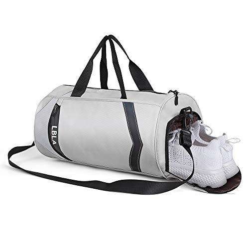 LBLA Sac de Sport Hommes avec Compartiment Chaussures Grande Capacité Sacs de Voyage Gym Fitness Sac pour Hommes Femmes(Gris)
