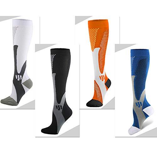 Compression Socks Men Women 20-30 mmHg 4 Pairs Graduated Hosiery for Travel, Swollen, Running