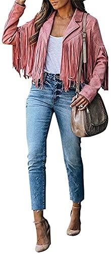 Chaqueta de Motorista Recortada con Flecos y Flecos para Mujer Chaqueta de Cuero de Manga Larga Chaqueta de Cuero de Gamuza Outwear (Pink,L)