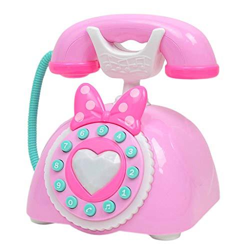 D DOLITY Téléphone Fixe Vintage Appareil Ménager Simulation en Plastique Enfants Jeu de Rôle Jouet - Rose
