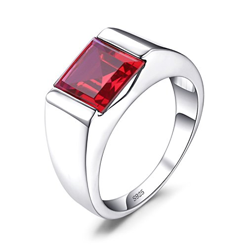 Jewelrypalace Men's Square 3.3ct Created Red Ruby 925 Sterling Sliver Engagement Ring Size 10
