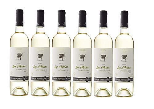 Las Mulas Sauvignon Blanc, Vino Blanco - 6 botellas de 75 cl, Total: 4500 ml