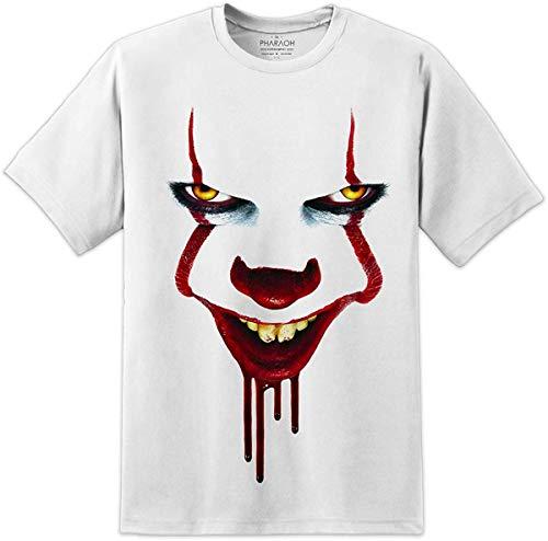 Digital Pharaoh Herren T-Shirt Pennywise IT Clown Horror Halloween Film Gr. XXL = 127/132 cm, weiß