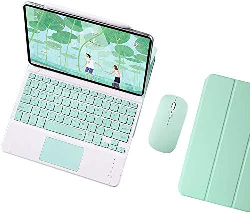 Funda con Teclado para iPad Pro De 11'2020, [compatibilidad con Carga Y Par De Lápices De Apple] Teclado Inalámbrico Desmontable con Conexión Magnética con Panel Táctil, Mouse Bluetooth,Green