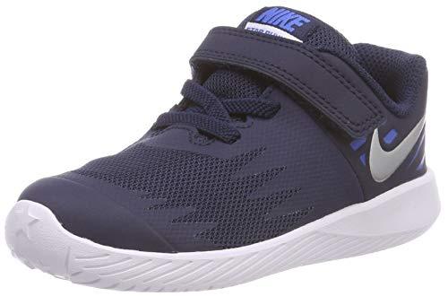 Nike Mädchen Star Runner (TDV) Hausschuhe, Mehrfarbig (Obsidian/Metallic Silver-Signal Blue 406), 22 EU