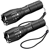 ICEFIRE K1 LED Head Torches Zoomable Flashlight Pocket-Sized Light 2000 Lumens XML T6 Super Bright Adjustable Focus Tactical Hand Lights for Camping, Hiking, Cycling and Emergency Use (2 Pack)