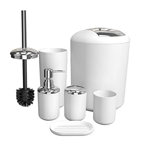 Bathroom Accessories Set, 6 Pieces Plastic Gift Set Bathroom Accessory Luxury Bathroom Set Includes Toothbrush Holder,Toothbrush Cup,Soap Dispenser,Soap Dish,Toilet Brush Holder,Trash Can (White)
