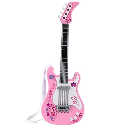 Alomejor Kinder Spielzeug Gitarre Instrumente Kleinkind Jungen Mädchen Kinder E-Gitarre Frühe Pädagogische Simulation Gitarre Interaktiv(Rosa)