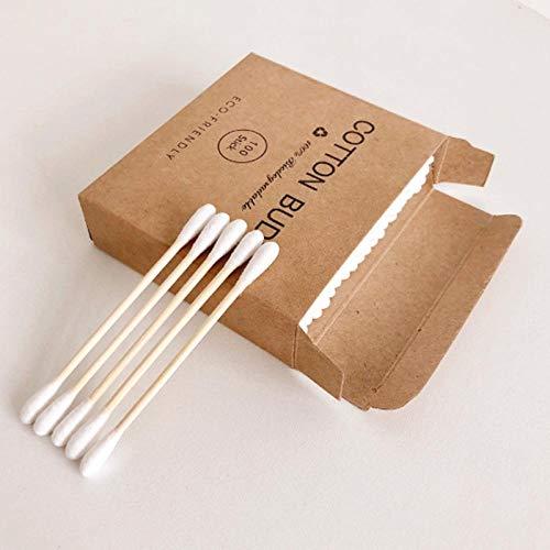 100pcs / boîte sans plastique de coton-tige en bambou à double tête, coton-tige cosmétique pour adultes, bâton en bois, nez, oreille, nettoyage des outils de santé