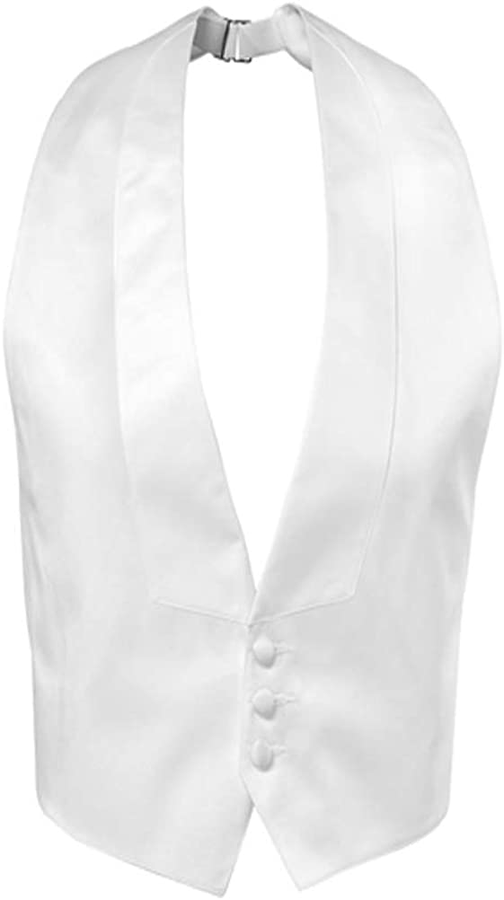 Three Button White Backless Satin Tuxedo Vest and Bow Tie