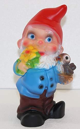 RAKSO Deko Figur Zwerg H 19 cm Gartenzwerg mit Vogel stehend Gartenfigur aus Kunststoff