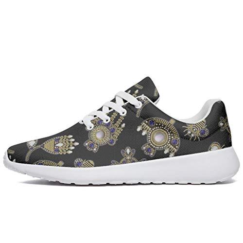 Wraill Herren Damen Laufschuhe Turnschuhe Schmuck Gedruckt Sneakers Trendige Straßenlaufschuhe Wanderschuhe Laufen Schuhe Sportschuhe White 37