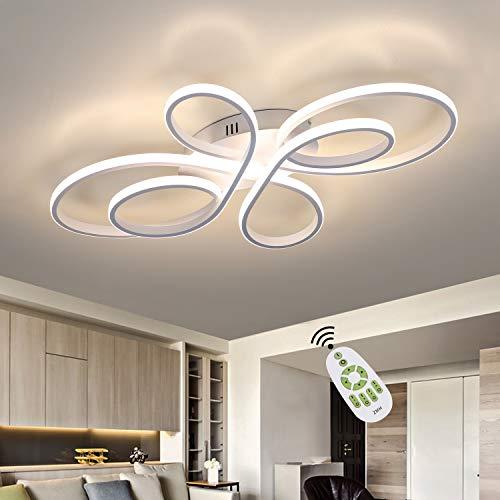 ZMH Lámpara de techo LED para sala de estar Lámpara de techo LED moderna regulable con control remoto 65 vatios Lámpara de sala de estar hecha de metal en forma de mariposa
