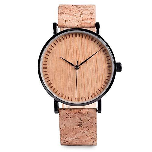 Reloj Mujer Correa con Estilo De Madera del Reloj del Cuero De La Vendimia Ligera Los Hombres del Reloj del Reloj (Color : Black)