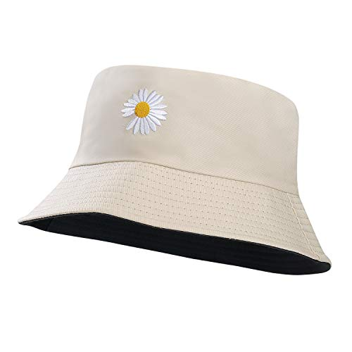 MaoXinTek Cappello Pescatore Reversibile Cotone Margherita Bucket Hat Cappello da Sole Traspirante...