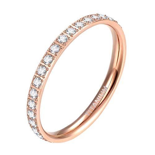 Mabohity Ring Damen 2mm Titan-Ring mit Zirkonia Titanium Ewigkeit Ehering Verlobungsring Freundschaftsring Hochzeit Ringe, Rosegold, Größe 62