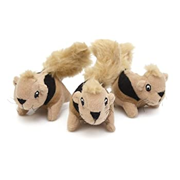 Outward Hound Kyjen 2858 Squeakin  Animals 3-Pack Jr Hide-A-Squirrel Replacement Squeak Toy Dog Toys Small Brown