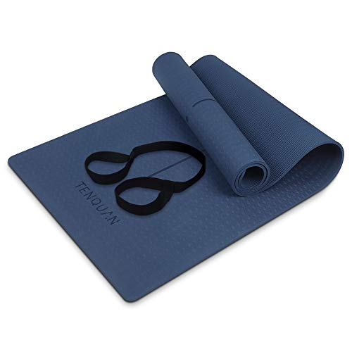 """TENQUAN 8mm Yoga Mat TPE – 1/3"""" Non Slip Eco Friendly Yoga Mat with Adjustable Carrying Strap fo"""