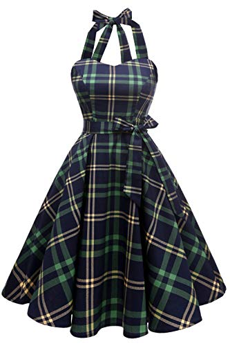 Topdress Women'sVintage Polka Audrey Dress 1950s Halter Retro Cocktail Dress Green Plaid 3XL