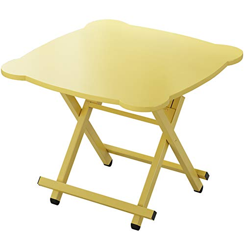 ALVEN Folding Snack Table, Small Square Side Table Laptop Table Natural Wood for Outdoor Patio Garden Balcony Office Housewares 23.6 X 23.6 X 29.5 In,a~Yellow
