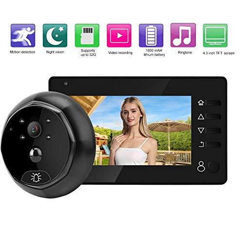 Pantalla LCD TFT de 4,3 Pulgadas Cámara Digital Visor de Mirilla Cámara, Timbre Detector de Movimiento Sistema de Seguridad de teléfono de Puerta Admite hasta 32G para el hogar al Aire Libre.