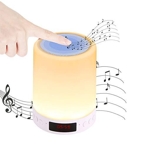 Youool Luces Nocturna Altavoz Bluetooth, 1200 mAh Luz Mesita de Noche, Portátil Lámpara de Mesa LED Táctil 5 en 1 con Radio FM Reloj deSpertador Lámpara de Noche Regulable