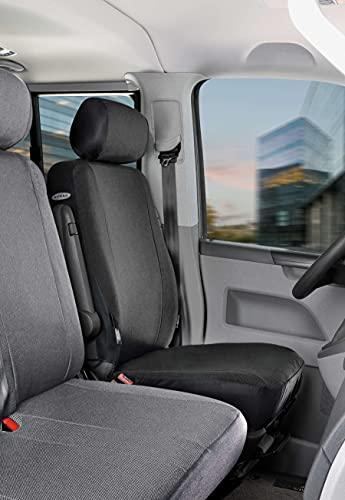 Walser 10455 Autoschonbezug Transporter Passform, Stoff Sitzbezug anthrazit kompatibel mit VW T5, Einzelsitz vorne