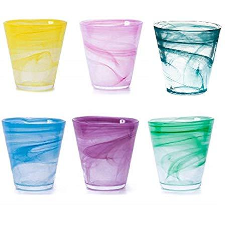 Pami Bicchieri Acqua, Bicchieri Vino, Bicchieri Colorati, Bicchieri Cocktail, Bicchieri Aperitivo, Bicchieri Vetro, Set 6 Bicchieri (Mix Multicolore) (2 Confezioni)