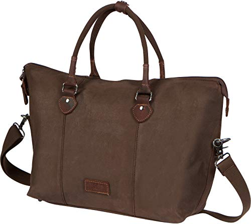 Troop London Heritage Canvas Leather Travel Duffel Bag | Canvas Holdall | Gym Bag TRP0438 (Dark Brown)
