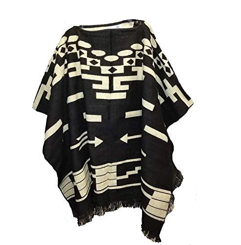 Wigwam Poncho de estilo mexicano hecho a mano (negro).