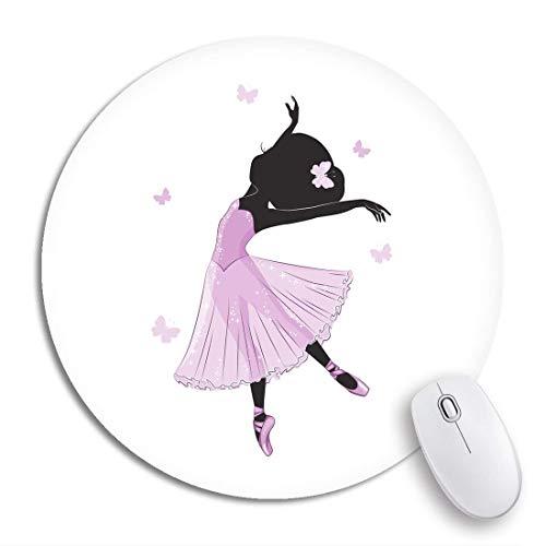 Runde Mauspad Silhouette der niedlichen kleinen Ballerina im rosa Kleid Romantische rutschfeste Gummibasis Mausmatte Gaming Mousepad für Computer