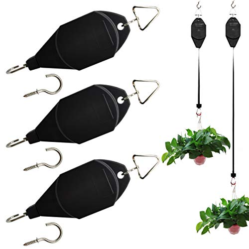 RONGYOUNG 3 Pack Plant Pulley Hanger, Retractable Plant Hook Pulley, Adjustable Heavy Duty Plant Hanging Pulleys for Garden Baskets & Bird Feeder with 3 PCS Metal Ceiling Plant Hooks