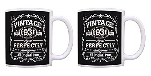 Taza de café con diseño vintage de 90 cumpleaños, 1931, todas las piezas originales