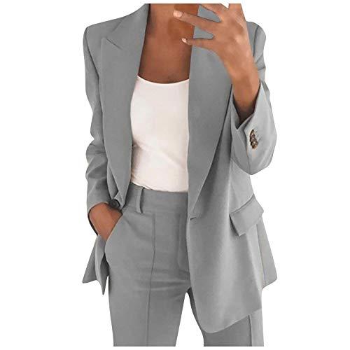 Blazers Mujer Casual SHOBDW Liquidación Venta Señoras de la Oficina Trajes Mujer Trabajo Solapa Chaqueta Mujer Slim Fit Cardigan Mujer Baratos Abrigo Mujer Largos Tallas Grandes(Verde,XXL)
