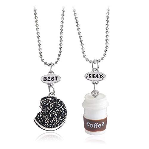 Kit Com 2 Colar Biscoito & Café Cordão Melhores Amigos Best Friends Bff