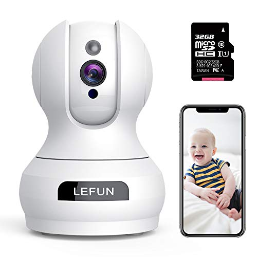 WiFi Camera - Lefun Home Indoor Security Camera with 32G Micro SD Card Surveillance Pet Dog Camera, Pan/Tilt/Zoom 2-Way Audio Remote Viewing Baby Monitor Motion Detect Night Vision Webcam