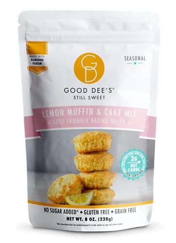 Good Dees Low Carb Baking Mix, Lemon Muffin & Cake Mix, Keto Baking Mix, No Sugar Added, Gluten Free, Dairy-Free, Soy-Free, Diabetic, Atkins & WW Friendly (2g Net Carbs, 12 Serving)