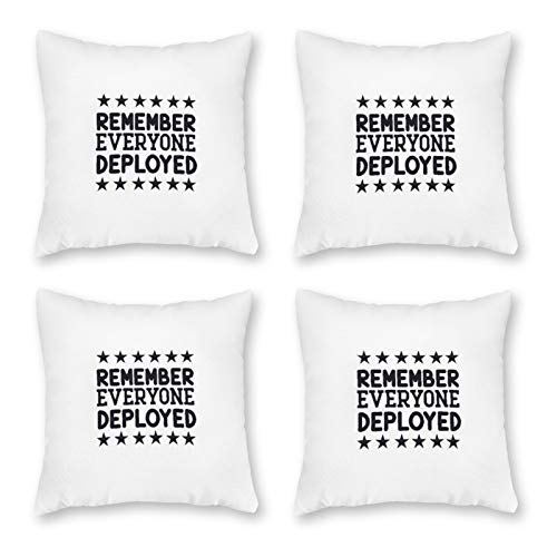 None-brands - Funda de cojín de algodón para sofá, 4 unidades, decoración navideña, para recuerde a todo el mundo desplegado-01