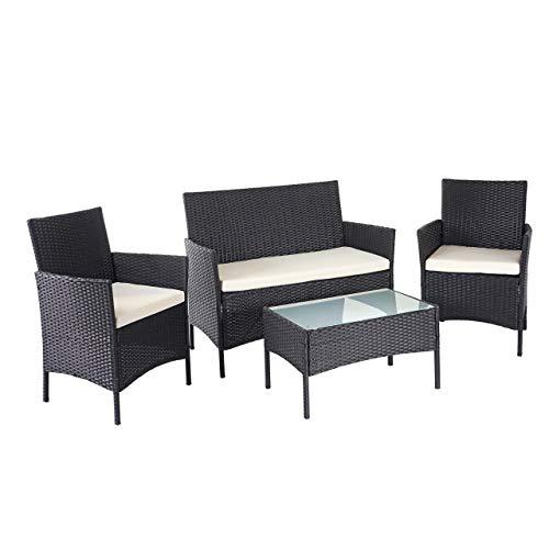 Mendler Poly-Rattan Garten-Garnitur HWC-D82, Sitzgruppe Lounge-Set ~ schwarz mit Kissen Creme