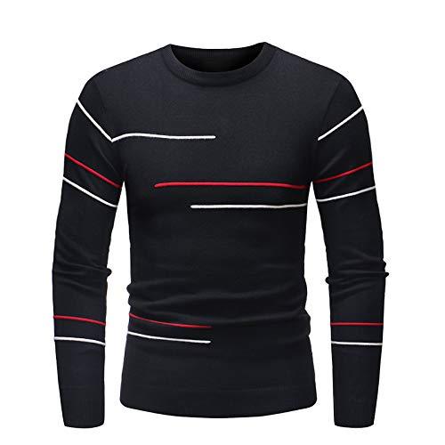 Suéter de Cuello Redondo para Hombre Jacquard a Rayas Tejido Fino Slim Fit Stretch Primavera y otoño Jersey de Manga Larga 3X-Large